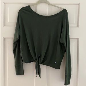 Cropped Tie Olive lightweight sweater